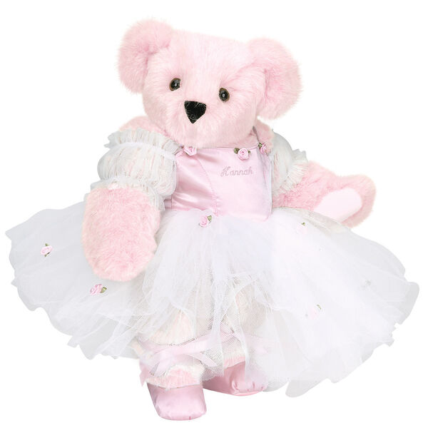 """15"""" Ballerina Bear - Standing jointed bear dressed in pink satin and tulle dress and ballet slippers. Center front of dress is personalized with """"Hannah"""" in bright pink lettering - Pink fur image number 1"""