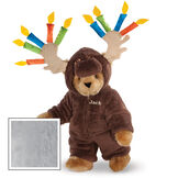"""15"""" Moose Be Your Birthday! Bear - Front view of standing jointed bear dressed in a brown hoodie footie with birthday candles on the tan antlers personalized with """"Jack"""" on left chest in gold lettering - Gray image number 4"""