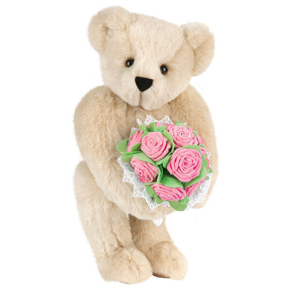 "15"" Pink Rose Bouquet Teddy Bear - Front view of standing jointed bear holding a large pink bouquet wrapped in white satin and lace - Buttercream brown fur image number 1"