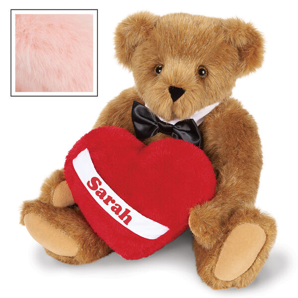 """15"""" Romantic at Heart Bear - Seated jointed bear with tuxedo collar and plush heart pillow, which is personalized with """"Sarah"""" - Pink image number 7"""