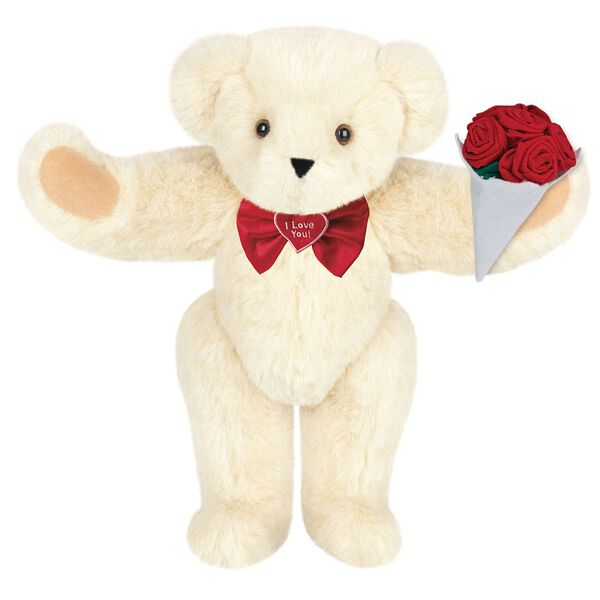 """15"""" """"I Love You"""" Bow Tie Bear with Red Roses - Standing jointed bear dressed in red satin bow tie; """"I Love You""""  is embroidered on red satin heart center - Buttercream brown fur image number 1"""