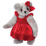 """15"""" Zombie Sweetheart Bear - Three quarter view of standing jointed bear with blackened eyes and embroidered scar and red heart tattoo on right arm dressed in red velvet and satin dress and hair bow with heart lace trim and heart applique on front of dress - Honey brown fur image number 0"""