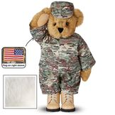 """15"""" Camouflage Bear - Front view of Standing jointed beardressed in a digital camoflage military outfit with American flag on the bear's right sleevewith """"Kennedy"""" personalized on the left chest - Vanilla white fur image number 2"""