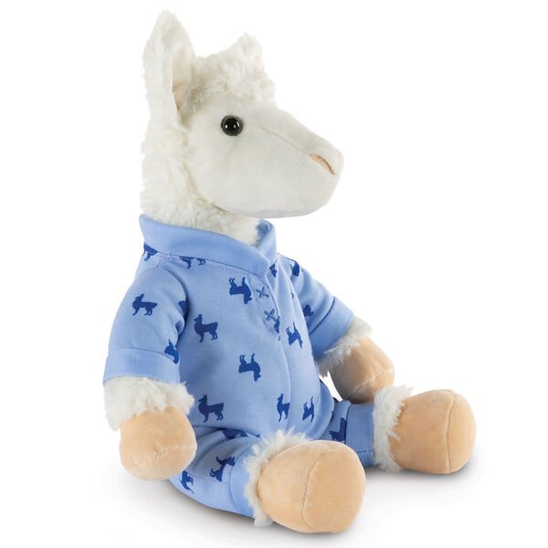 "13"" PJ Pal Llama - Three quarter view of seated white Llama in blue cotton onesie pajamas with llama print  image number 4"