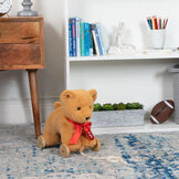 "12"" Rolling Bear Toy - golden bear with red satin ribbon personalized with ""Kyle"" on wooden detachable wheel frame with pull string in front of  a book case and bureau image number 0"