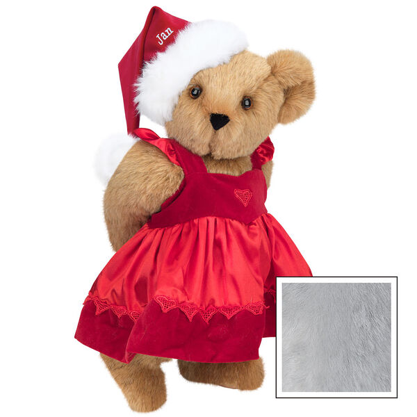 """15"""" Christmas Sweetheart Bear - Standing jointed bear dressed in white red velvet dress with heart lace trim and red velvet santa hat with white fur trim. Hat is personalized with """"Jan"""" above the fur - Gray image number 4"""