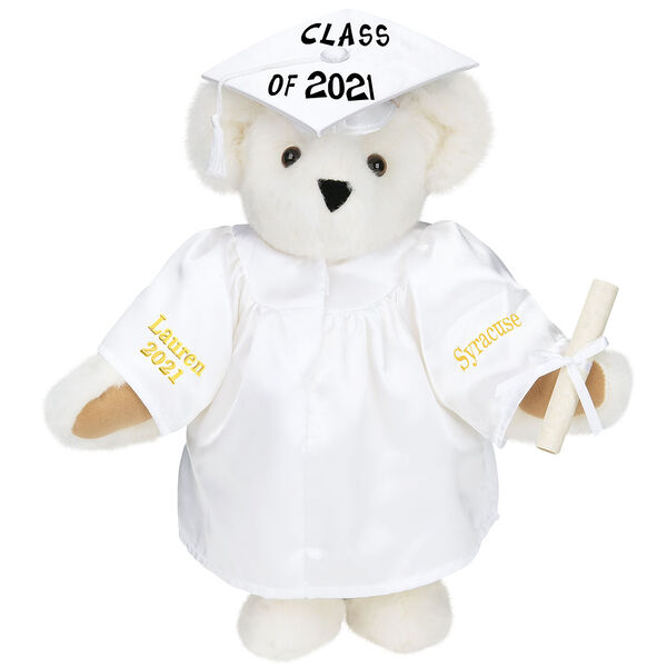 """15"""" Graduation Bear in White Gown - Front view of standing jointed bear dressed in white satin graduation gown and cap and holding a rolled up diploma personalized """"Jackson 2021"""" on right sleeve and """"Syracuse"""" on left in gold - Vanilla image number 2"""
