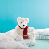 "15"" Classic Polar Bear - Seated on an iceberg in a winter landscape, jointed polar bear with blue eyeswears a red knit scarf personalized with ""Sarah"" in white - Snow white fur image number 0"