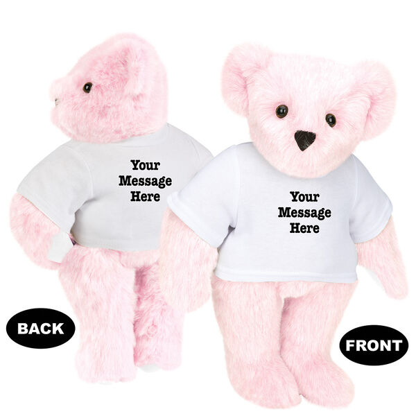 """15"""" Say Anything T-Shirt Bear - Front view of standing jointed bear dressed in white t-shirt with black graphic that says, """"Your message here"""" on the front and the back of the shirt - Pink fur image number 5"""