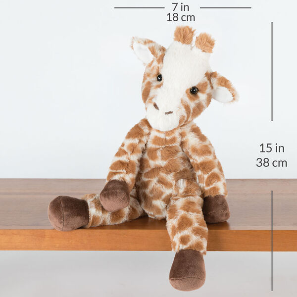 """15"""" Buddy Giraffe - brown and tan print giraffe with dark brown hooves and brown eyes sitting, on shelf with a width measurement of 7 in or 18 cm and and length measurement of 15 in or 38 cm long.  image number 3"""