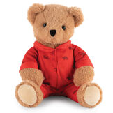 "13"" PJ Pal Bear - Front view of seated light brown Bear in red cotton onesie pajamas with grizzly bear print.  image number 7"