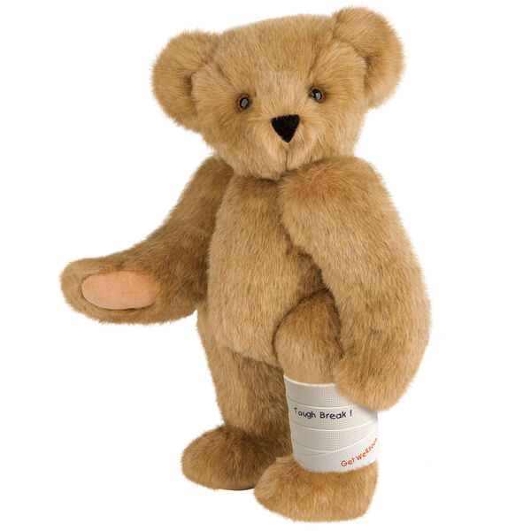 """15"""" Classic Bear Cast - white plastic cast on bear's left leg. Tough break' in black lettering and 'Get Well Soon' in red lettering are written on the cast.  image number 1"""
