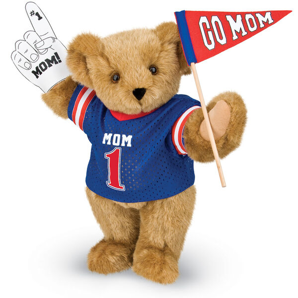 """15"""" Mom's Biggest Fan Bear - Front view of standing jointed bear dressed in a blue shirt with """"Mom 1"""" on front, holding a white foam finger that says """"#1 Mom"""" and a """"Go Mom"""" red flag - Honey brown fur image number 0"""
