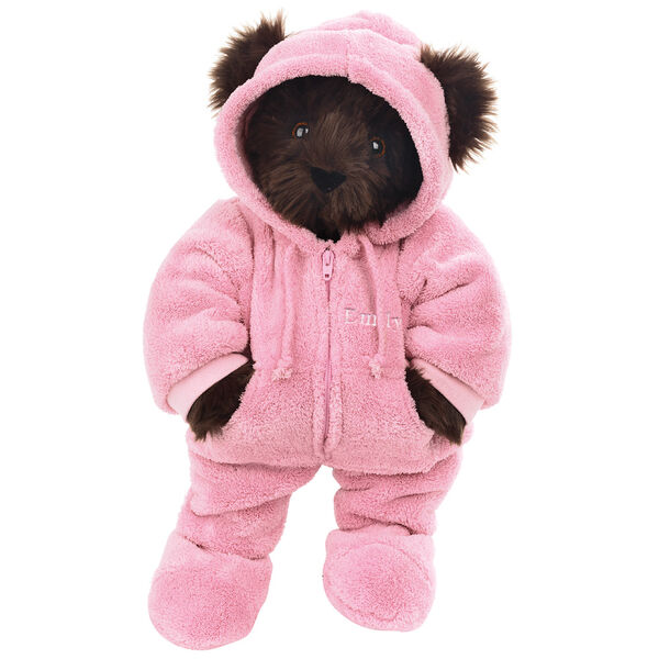 """15"""" Hoodie Footie Bear - Front view of standing jointed bear dressed in pink hoodie footie personalized with """"Emily"""" in white on left chest - Espresso brown fur image number 8"""