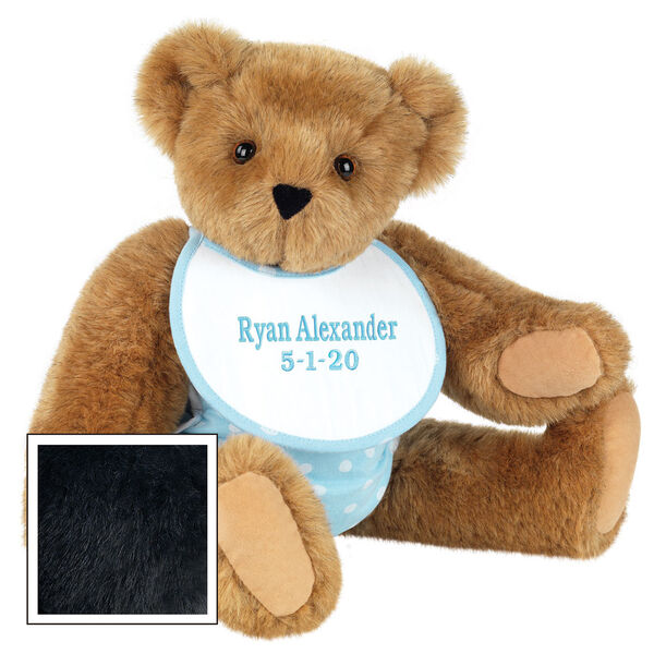 """15"""" Baby Boy Bear - Seated jointed bear dressed in light blue with white dots fabric diaper and bib. Bib with """"Ryan Alexander"""" and """"5-1-20"""" in light blue lettering - Black fur image number 3"""