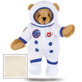 """15"""" Astronaut Bear - Standing jointed bear dressed in white space suit, boots and helmet with blue trim, embroidered patches and American flag - Buttercream brown fur image number 5"""