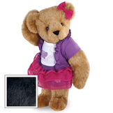 """15"""" Glitter Whimsy Bear - Three quarter view of standing jointed bear dressed in a pink skirt and hair bow, white shirt with butterfly graphic, purple shorts and sweater image number 3"""