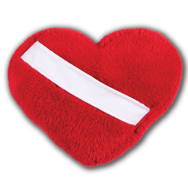 Mini huggable heart pillow - Red fleece pillow with diagonal white sash on front pocket.  image number 0