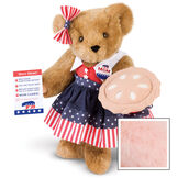 """15"""" Mom for President - Front view of standing jointed bear in a red, white and blue stars and stripes dress with matching head bow, with a """"Mom for President"""" pin holding an apple pie and a voting ballot - Pink image number 5"""