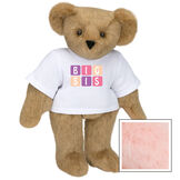 """15"""" BIG SIS T-Shirt Bear - Standing jointed bear dressed in white t-shirt with pink and purple graphic that says, """"BIG SIS' - Pink image number 5"""