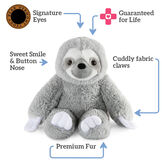 """18"""" Oh So Soft Sloth - Front view of seated gray 18"""" Sloth with white claws and face text reads """"Signature Eyes; Guaranteed For Life; Cuddly Fabric Claws; Premium Fur; Sweet Smile and Button Nose"""".  image number 1"""