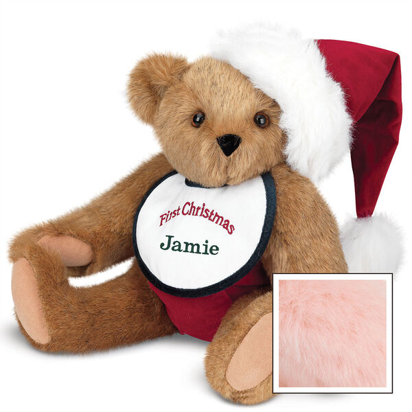 """15"""" Baby's First Christmas Bear - Seated jointed bear dressed in red velvet diaper with santa hat and white and green bib that says ' First Christmas' in red lettering. Bib is personalized with """"Jamie"""" in dark green lettering - Pink image number 5"""