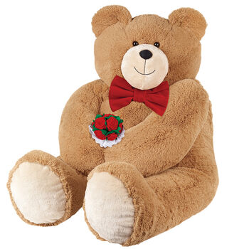 4' Big Hunka Love® Bear with Bow Tie and Roses