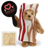 """15"""" I Love You More than Bacon - Front view of standing jointed bear dressed in tan bacon costume holding a pan that says""""I """"heart"""" U more than bacon!"""" - Maple brown fur image number 4"""
