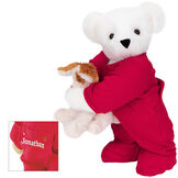 """15"""" Christmas Bedtime Bear with Puppy - Standing jointed bear dressed in white red dropseat onesie with 6"""" tan puppy. Inset image shows """"Jonathan"""" personalized on rear flap of PJ in white - Vanilla white fur image number 2"""