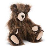 """15"""" Mt. Philo Collection - Three quarter view of seated jointed bear with brown eyes and tan muzzle - Long brown fur image number 0"""