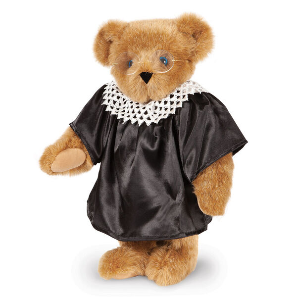 "15"" Ruth Bader Ginsburg Bear - Standing Honey Bear with blue eyes dressed in a black satin robe, white dissent color and gold wire framed glasses image number 0"