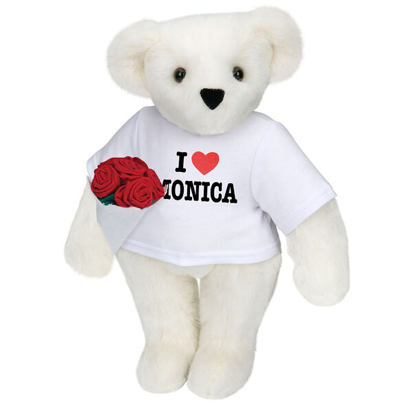 """15"""" """"I HEART You"""" Personalized T-Shirt Bear with Roses - Standing Jointed Bear in white t-shirt that says I """"Heart"""" You in black and red lettering holding a red rose bouquet - Vanilla image number 3"""