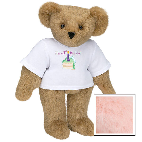 """15"""" 1st Birthday T-Shirt Bear- Vanilla Cake - Standing jointed bear dressed in a white t-shirt with a slice of vanilla cake artwork that says, """"Happy 1st Birthday!"""" on the front of the shirt - Pink image number 5"""