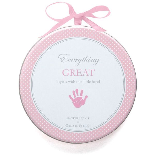 Handprint kit - Clay dough baby handprint kit in decorative tin with light pink theme image number 0