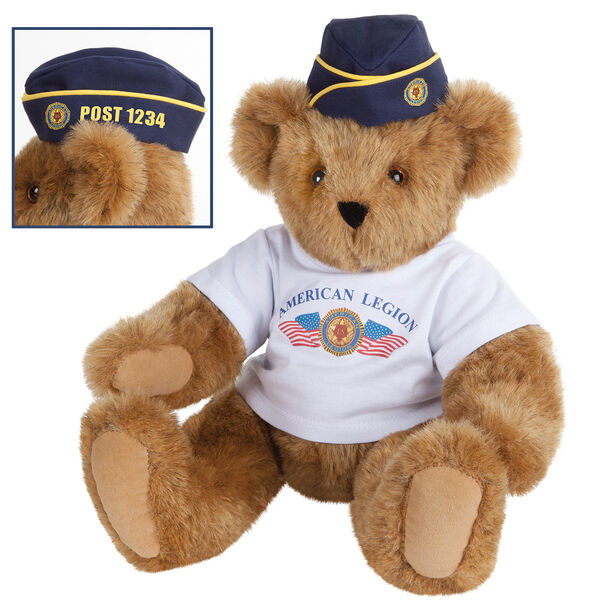"15"" The American Legion Bear - Front view of seated jointed bear dressed in a white t-shirt and navy hat with American Legion logos. Hat is personalized with ""Post 1234"" in yellow - Honey brown fur image number 0"