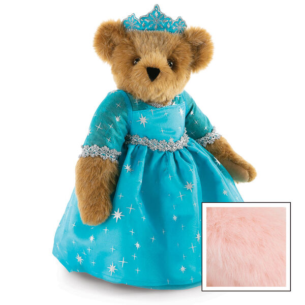 """15"""" Winterland Queen Bear - Three quarter view of standing jointed bear dressed in a blue dress with silver star tulle overlay and silver lace trim and blue and silver tiara - Pink image number 8"""