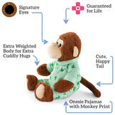 """13"""" PJ Pal Monkey- 3 quarter view of cinnamon brown Monkey with tan muzzle in green cotton pajamas. Text reads, """"Signature Eyes; Guaranteed For Life; Cute, Happy Tail; Onesie Pajamas with Monkey Print; Extra Weighted Body for Extra Cuddly Hugs"""".  image number 4"""