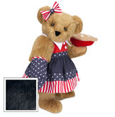 """15"""" All American Mom Bear - Standing jointed bear in a red, white and blue stars and stripes dress with matching head bow and oven mitt holding an apple pie - Black fur image number 3"""