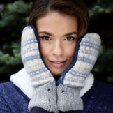 Bernie Mittens - Variety of Adult One Size Assorted multi colored wool blend mittens with fleece lining image number 1