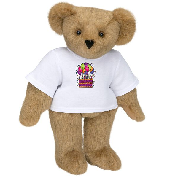 """15"""" Birthday T-Shirt Bear - Standing jointed bear dressed in white t-shirt with colorful birthday cake and balloons - Honey brown fur image number 0"""