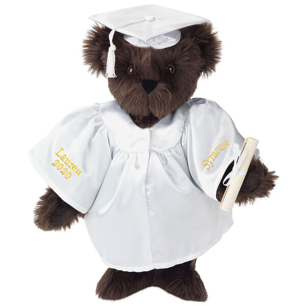 """15"""" Graduation Bear in White Gown - Front view of standing jointed bear dressed in black satin graduation gown and cap and holding a rolled up diplomapersonalized """"Jackson 2020"""" on right sleeve and """"Syracuse"""" on left in gold - Espresso brown fur image number 5"""