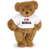 "15"" ""I HEART You"" Personalized T-Shirt Bear - Standing Jointed Bear in white t-shirt that says I ""Heart"" You in black and red lettering - Honey brown fur image number 0"