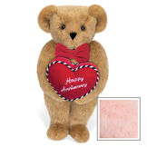 """15"""" Happy Anniversary Bear - Front view of standing jointed bear dressed in a red velvet bow tie and holding a red heart pillow that says' Happy Anniversary"""" in white  - Pink image number 5"""