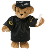 """15"""" Graduation Bear in Black Gown - Front view of standing jointed bear dressed in black satin graduation gown and cap and holding a rolled up diploma personalized """"Jackson 2021"""" on right sleeve and """"Syracuse"""" on left in gold - Honey image number 0"""
