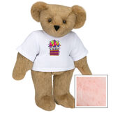 """15"""" Birthday T-Shirt Bear - Standing jointed bear dressed in white t-shirt with colorful birthday cake and balloons - Pink image number 5"""