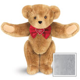 """15"""" """"I Love You"""" Bow Tie Bear - Standing jointed bear dressed in red satin bow tie; """"I Love You""""  is embroidered on red satin heart center - Gray image number 4"""