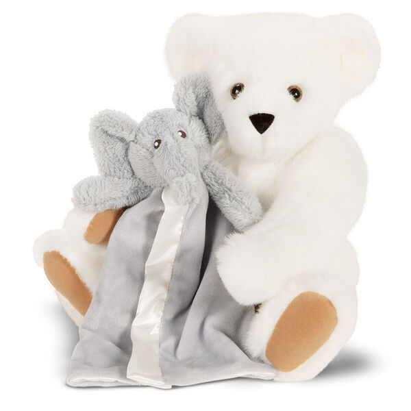 "15"" Cuddle Buddies Gift Set with Elephant Blanket - 15"" jointed seated bear with gray elephant blanket - Vanilla fur image number 2"