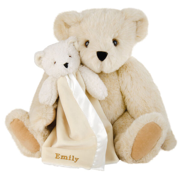 "15"" Cuddle Buddies Gift Set - Front view of seated jointed bear with ivory bear blanket with stroller strap personalized with ""Emily"" in gold lettering on corner of blanket - Buttercream brown fur image number 1"