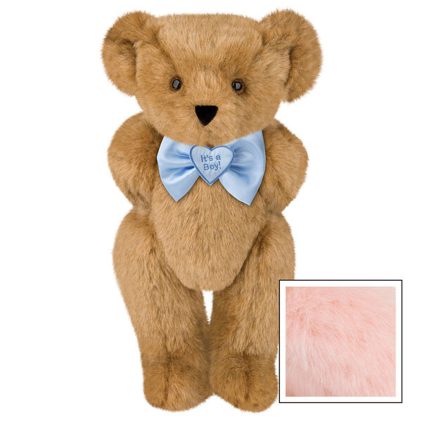 """15"""" """"It's a Boy!"""" Bow Tie Bear - Standing jointed bear dressed in light blue satin bow tie with """"It's a Boy!"""" is embroidered on heart center - Pink image number 5"""
