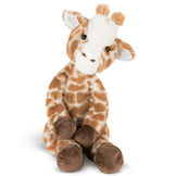 """15"""" Buddy Giraffe - front view of seated brown and tan print giraffe with dark brown hooves and brown eyes image number 2"""